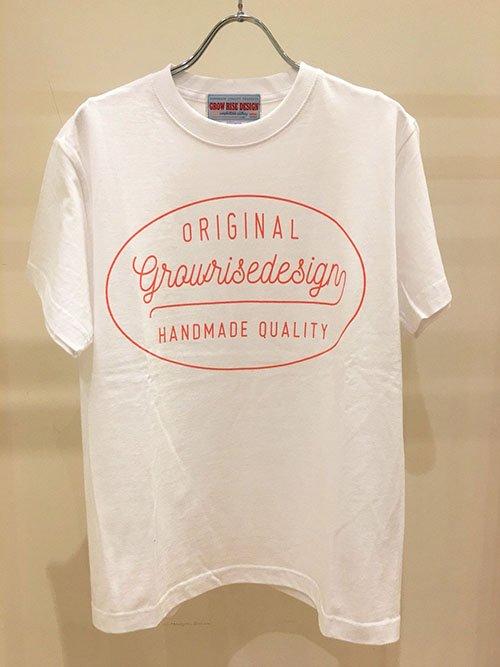 GROW RISE DESIGN オブロングロゴTシャツ(ホワイト×オレンジ)