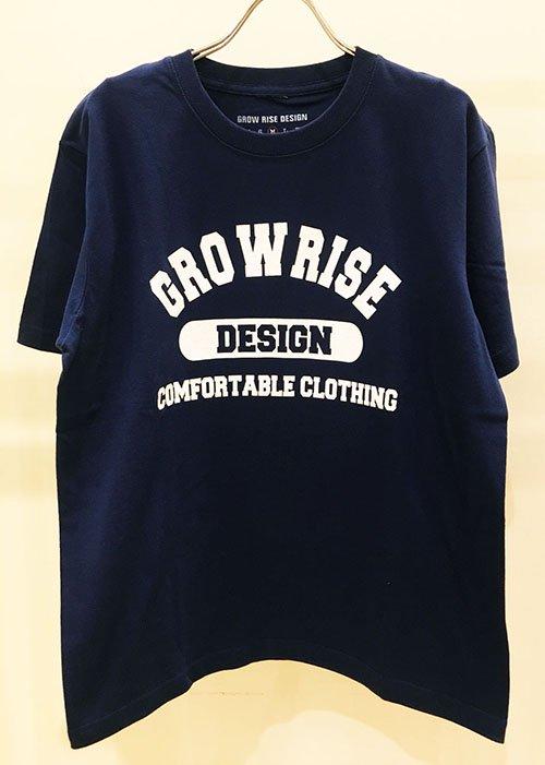 GROW RISE DESIGN カレッジロゴTシャツ(ネイビー)