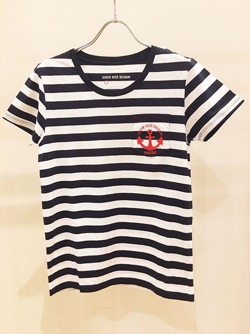 GROW RISE DESIGN Tシャツ マリンボーダーTシャツ(ホワイト×ネイビーボーダー)