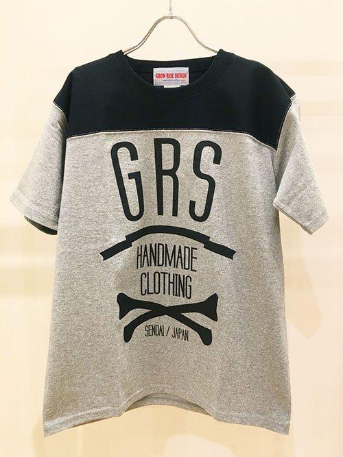 GROW RISE DESIGN ボーンロゴTシャツ(グレー×ブラック)