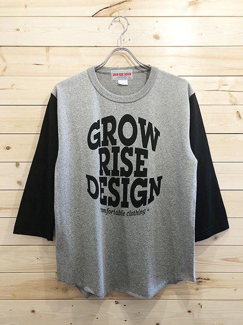 <img class='new_mark_img1' src='https://img.shop-pro.jp/img/new/icons5.gif' style='border:none;display:inline;margin:0px;padding:0px;width:auto;' />GROW RISE DESIGN ベースボールTシャツ(グレー×ブラック)