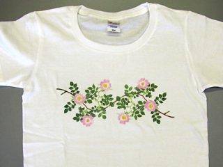 Tシャツ (ピンクのツルバラ)