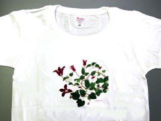 Tシャツ (赤い花のクレマチス)