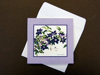グリーティングカード小(紫のクレマチス)