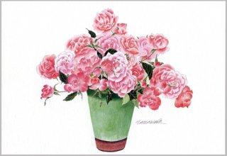 ポストカード「緑色の壷のピンクのバラ」
