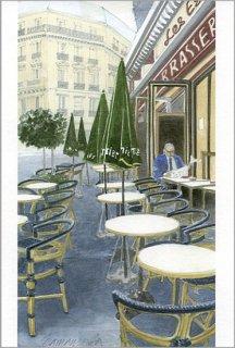 ポストカード「朝一番のカフェの客」