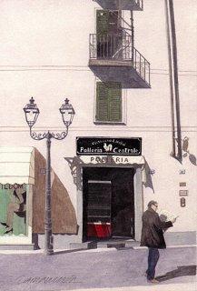 ポストカード「新聞を読みながら歩く男」