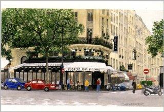 ポストカード「新緑のカフェ・ド・フロール」