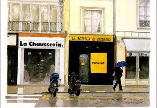 ポストカード「雨の朝、まだ店は開いていない」