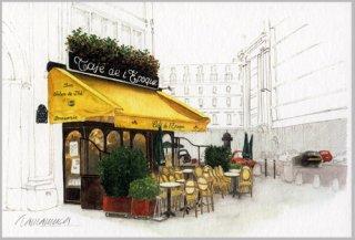 ポストカード「黄色い庇のカフェ」