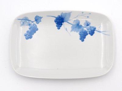 長角皿 (青いブドウ)