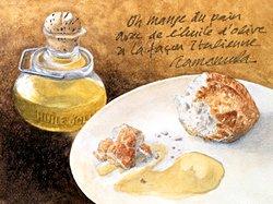 版画 「パンとオリーブ油」