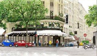 版画 「新緑のカフェ・ド・フロール」