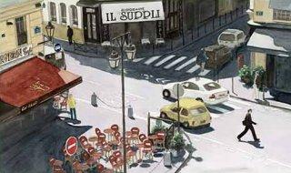 版画 「オデオン交差点、午後の陽差し」