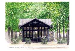 版画 「リュクサンブール公園のティータイム」