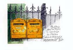 版画 「サンジェルマン・デ・プレ駅の郵便ポスト」