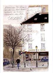 版画 「冬の日のディヴァン書店」