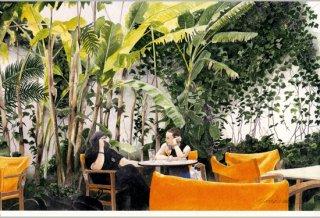 ポストカード「黄色い椅子のある中庭」
