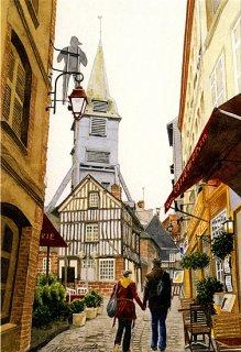ポストカード「古い教会のある散歩道」