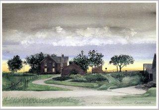 ポストカード「農場夕景」