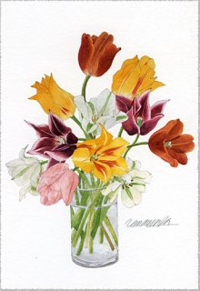 ポストカード「ガラス花瓶のチューリップ」
