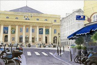版画 「オデオン座と青い地中海レストラン2019」
