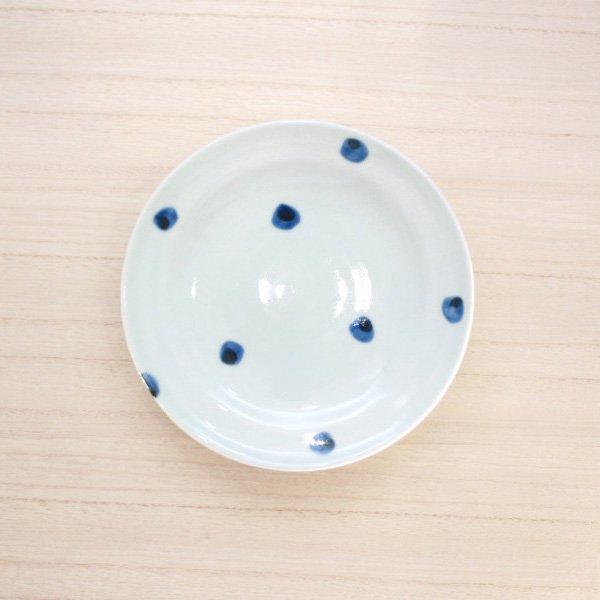 砥部焼・梅乃瀬窯 − 丸皿 5寸 点文
