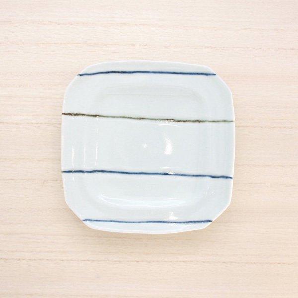砥部焼・梅乃瀬窯 − 角皿 5寸 象嵌 ボーダー