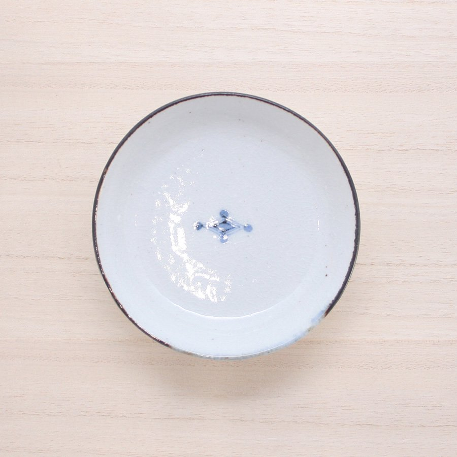 砥部焼・陶彩窯 − 染付古砥部文 小皿 菱文