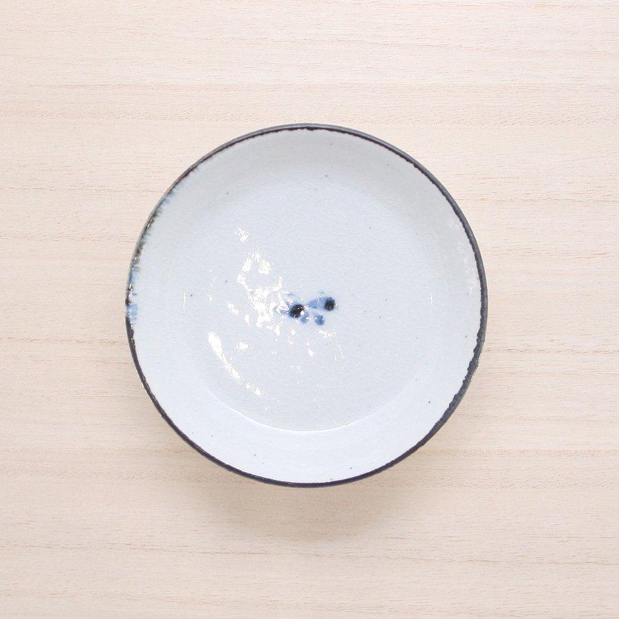 砥部焼・陶彩窯 − 染付古砥部文 小皿 蝶文