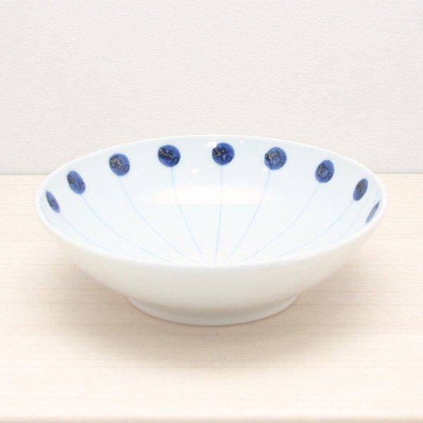 砥部焼・五松園窯 − 6寸浅鉢 丸と線