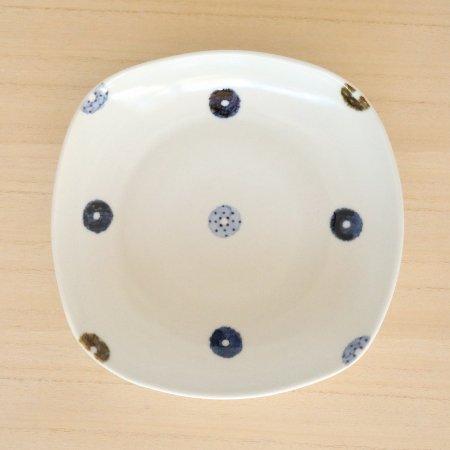 砥部焼・イロリ工房 − 四角皿 ドーナツ