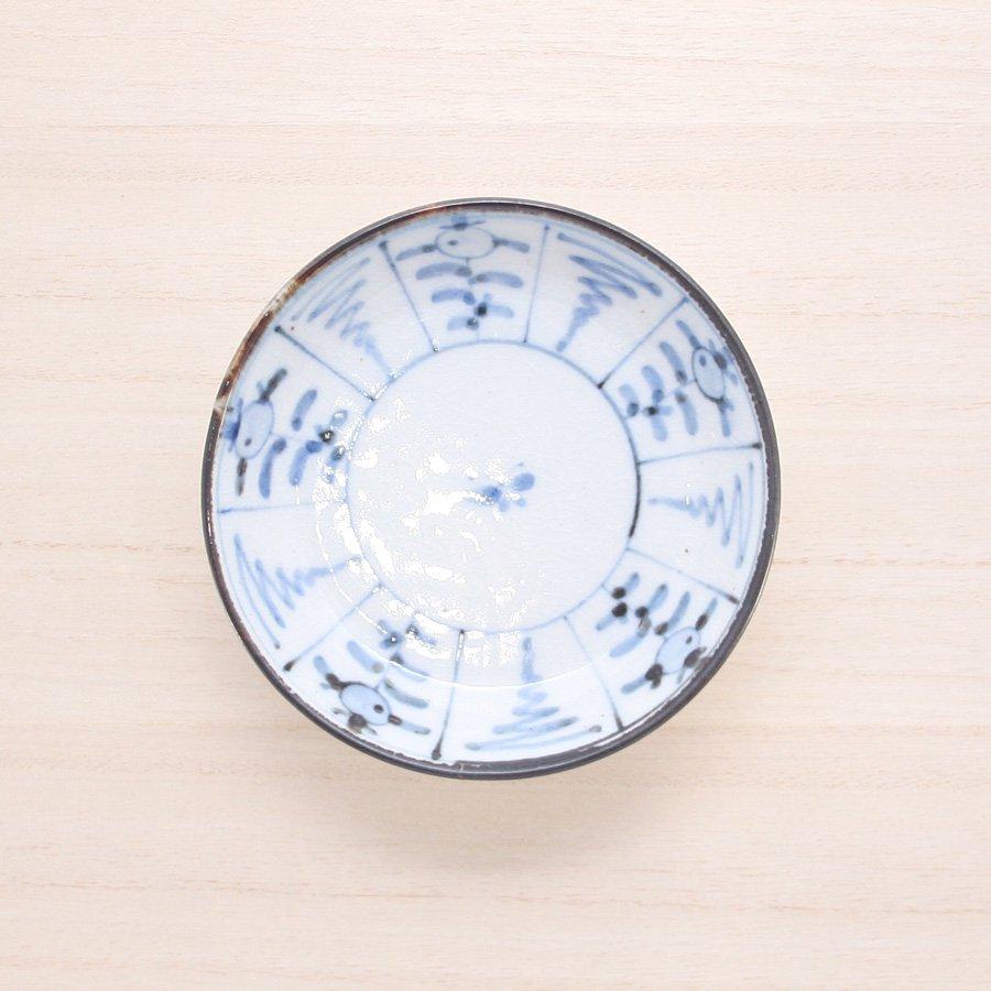 砥部焼・陶彩窯 − 染付古砥部文 小皿 なずな文