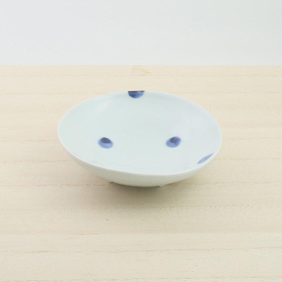 砥部焼・梅乃瀬窯 − 足付取皿 点文