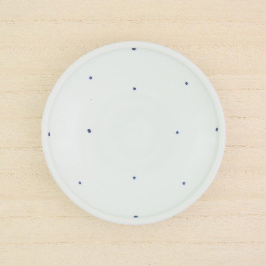 砥部焼・梅乃瀬窯 − 玉線皿 5寸 ドット