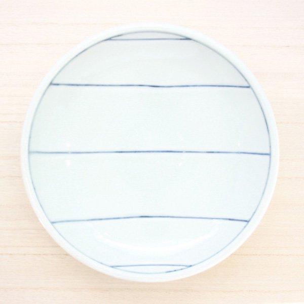 砥部焼・梅乃瀬窯 − 玉線皿 7寸 五本線