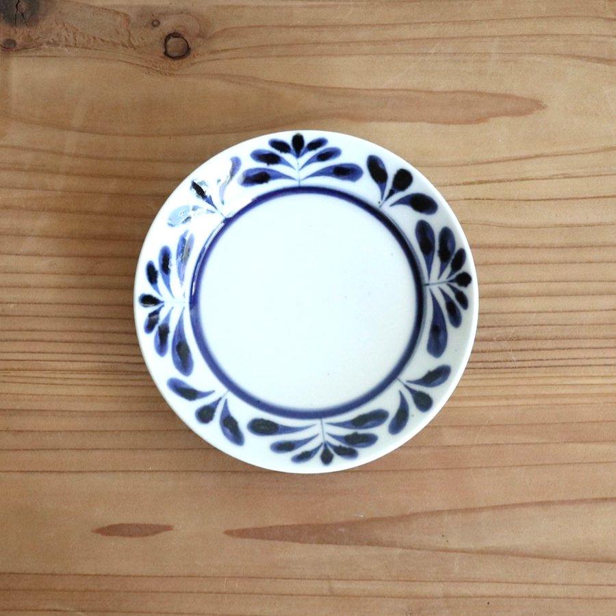 砥部焼・陶房 遊 − 4寸リム皿 ブルーリーフ[新規格]