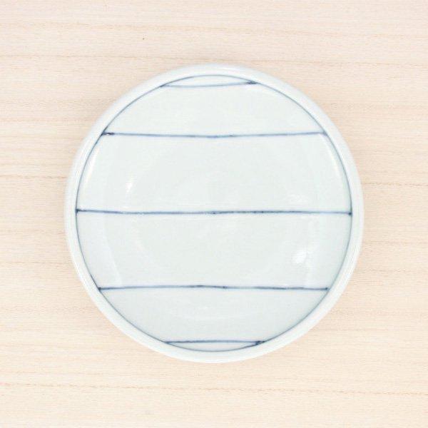 砥部焼・梅乃瀬窯 − 玉線皿 5寸 五本線