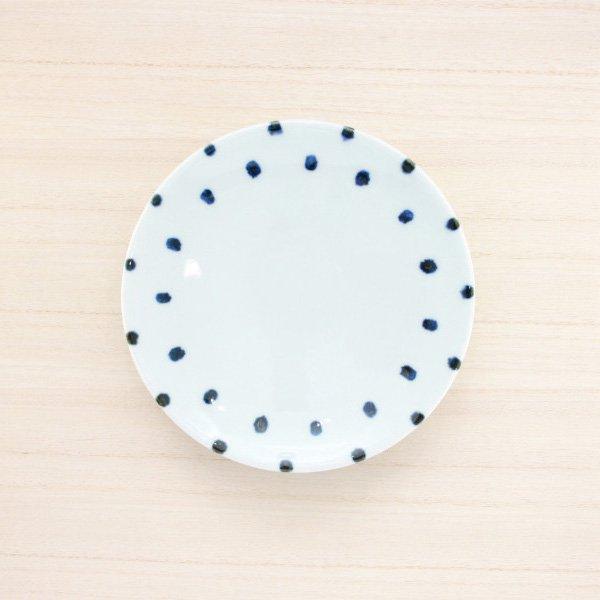 砥部焼・雲石窯 − 5寸皿 豆絞り