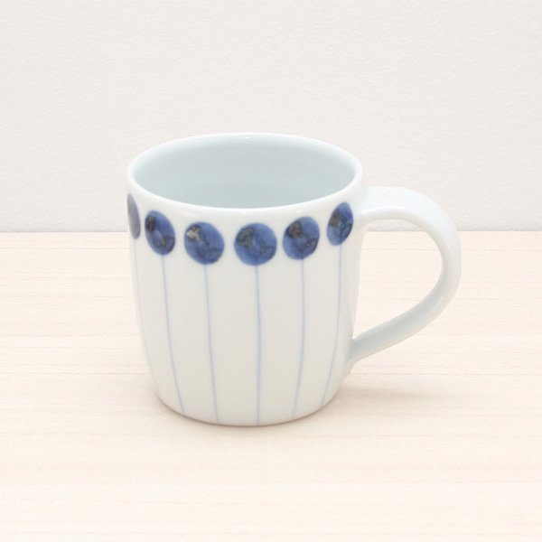 砥部焼・五松園窯 − マグカップ  丸と線