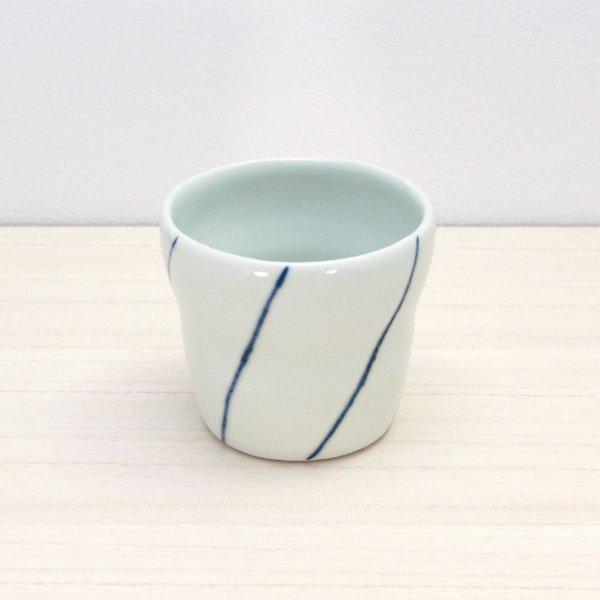 砥部焼・梅乃瀬窯 − フリーカップ 象嵌 ナナメ