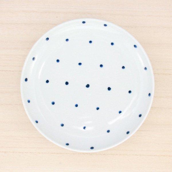 砥部焼・五松園窯 − 6寸皿 水玉