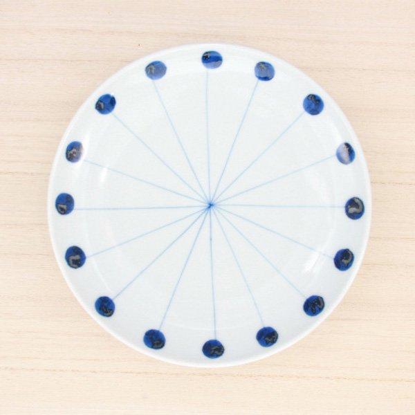 砥部焼・五松園窯 − 6寸皿 丸と線