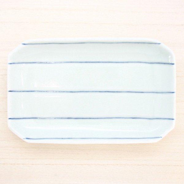 砥部焼・梅乃瀬窯 − 長方皿(小) 象嵌 五本線
