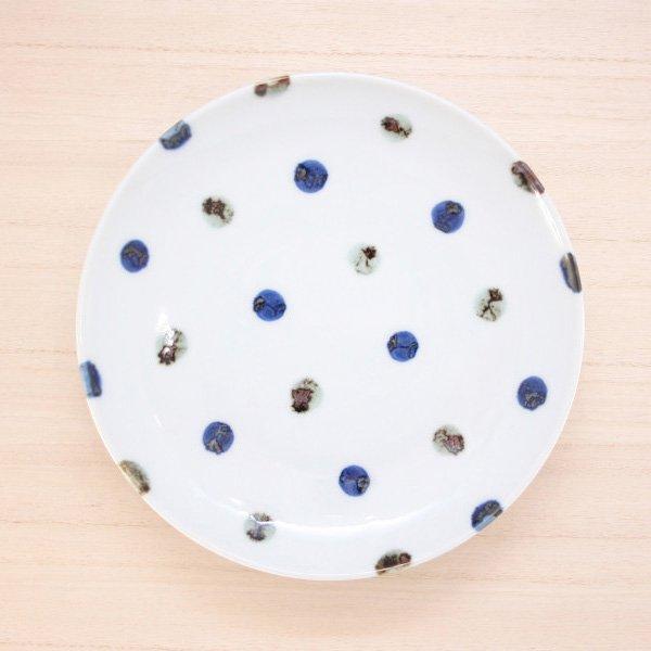 砥部焼・五松園窯 − 6寸皿 鉄水玉