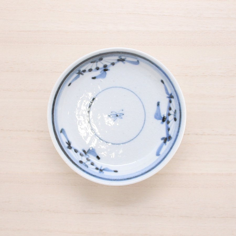 砥部焼・陶彩窯 − 染付古砥部文 小皿 菊文