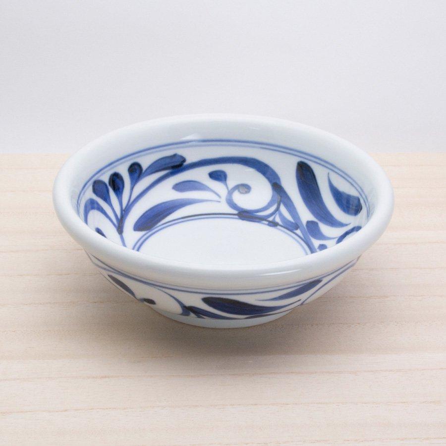 砥部焼・千山窯 − 玉ぶち鉢(中) 唐草