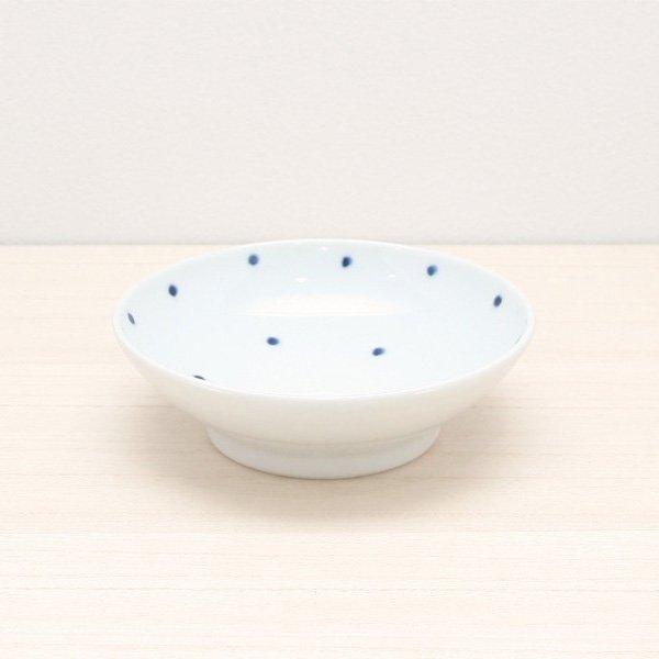 砥部焼・五松園窯 − 4寸浅鉢 水玉