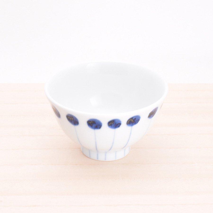 砥部焼・五松園窯 − 口反り茶碗 丸と線(小)