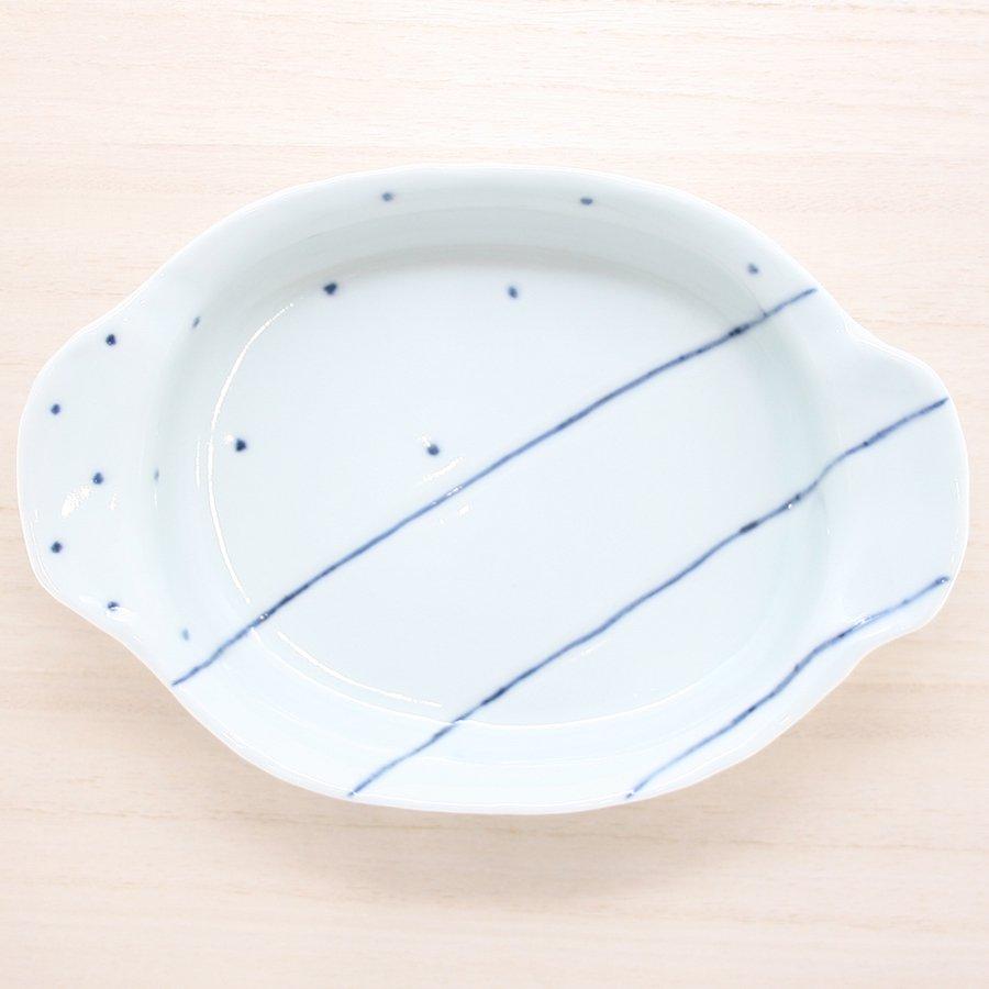 砥部焼・梅乃瀬窯 − グラタン鉢(小) 象嵌